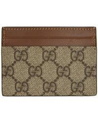 Gucci - ベージュand ブラウン GG スプリーム カード ホルダー - Lyst