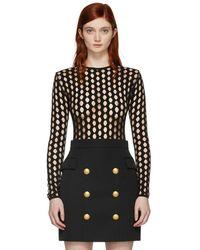 Balmain - Black Net Knit Bodysuit - Lyst