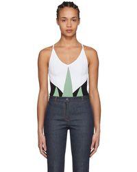 Bottega Veneta - Green And White Knit Bodysuit - Lyst