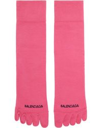 Balenciaga ピンク ロゴ Toe ソックス