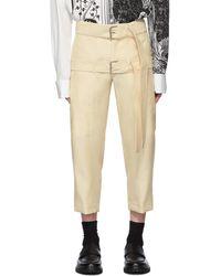 Lanvin Pantalon ecourte blanc casse Double Belt - Multicolore