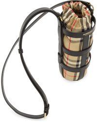 Burberry - ブラック And ベージュ ビンテージ チェック ボトル ホルダー ポーチ - Lyst