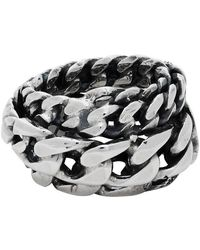 Emanuele Bicocchi Silver Spiral Chain Ring - Metallic