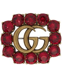 Gucci Gold And Red Marmont Gem Brooch