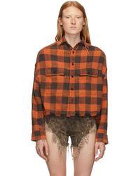 R13 - Orange Cropped Work Shirt - Lyst