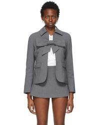 ShuShu/Tong Grey Bow Suit Jacket