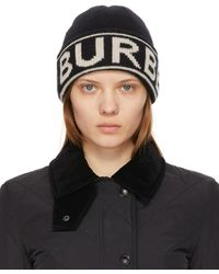 Burberry ブラック カシミア ロゴ ビーニー
