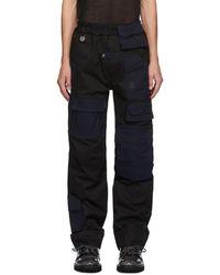 Xander Zhou Black And Navy Twill Cargo Pants