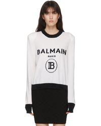 Balmain ブラック And ホワイト カシミア ロゴ セーター