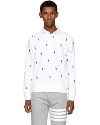 Thom Browne - White Long Sleeve Penguin Collection Polo - Lyst