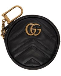 Gucci - Black Round GG Marmont Coin Pouch - Lyst