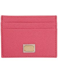 Dolce & Gabbana - Pink Logo Plate Card Holder - Lyst