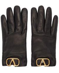 Valentino Black Valentino Garavani Leather Vlogo Gloves