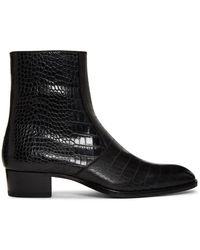 Saint Laurent Black Croc Wyatt Zip Boots
