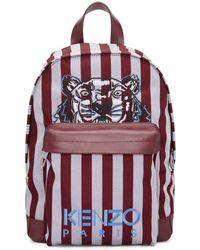 KENZO - Sac a dos bourgogne et bleu Small Striped Tiger - Lyst