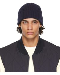 Officine Generale Bonnet bleu marine en maille côtelée de laine