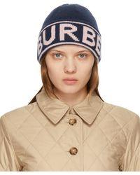 Burberry Bonnet en cachemire bleu marine Intarsia Logo