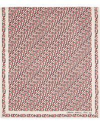 KENZO オフホワイト シルク モノグラム スカーフ - レッド