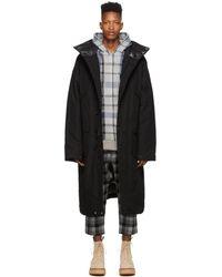 R13 Black Down Long Anorak Puffed Jacket