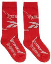 Vetements - Red Reebok Classics Edition Metal Socks - Lyst
