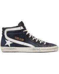 Golden Goose Deluxe Brand Navy Slide Sneakers - Blue