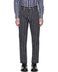 Daniel W. Fletcher Navy And White Woolmark Striped Jeans - Blue