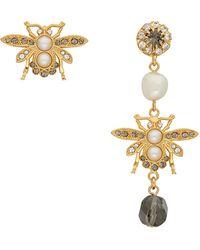 Erdem Boucles d'oreilles dorées et grises Crystal Bee - Métallisé