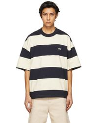 AMI Navy & Off-white Striped Rugby T-shirt - Blue