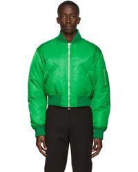 Bottega Veneta Blouson aviateur vert en duvet et nylon