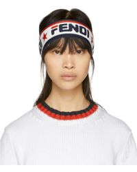 Fendi Mania コレクション ネイビー And ホワイト ヘッドバンド