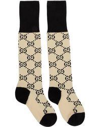 Gucci - オフホワイト And ブラック GG スプリーム ロング ソックス - Lyst
