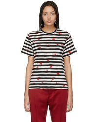 Proenza Schouler - Black And Off-white Striped Tissue T-shirt - Lyst