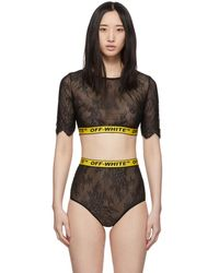 Off-White c/o Virgil Abloh Black Lace Industrial Crop Lingerie Set
