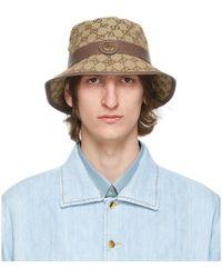 Gucci - Beige Canvas GG Supreme Bucket Hat - Lyst