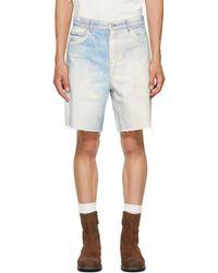 Our Legacy White & Blue Denim Short Cut Shorts