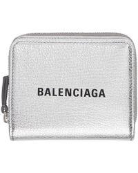 Balenciaga - Silver And Black Small Square Logo Wallet - Lyst