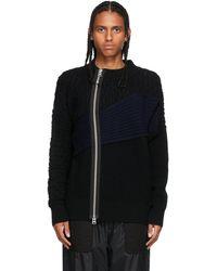 Sacai ブラック & ネイビー ケーブル ニット ジップアップ セーター