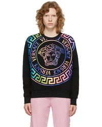 Versace ブラック & マルチカラー Medusa ロゴ スウェットシャツ