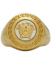 Versace Gold And White Medusa Medallion Ring - Metallic