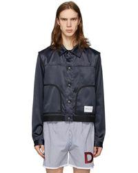 Daniel W. Fletcher Navy Satin Jeans Jacket - Blue