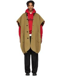 Burberry Reversible Beige Wool Check Poncho - Natural