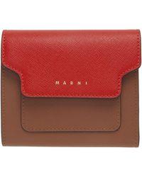 Marni - レッド & ブラウン フラップ ウォレット - Lyst