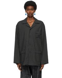 Balenciaga Navy & Khaki Pajama Shirt - Black