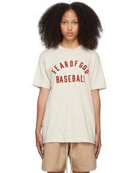 Fear Of God T-shirt 'baseball' beige - Neutre
