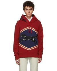 Gucci - Red Jumping Wolf Hoodie - Lyst