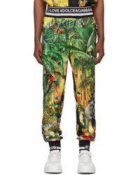 Dolce & Gabbana Pantalon de survetement a logo multicolore Mix Hawaii - Vert