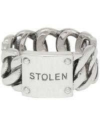 Stolen Girlfriends Club Silver Curb Wide Ring - Metallic