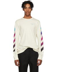 Off-White c/o Virgil Abloh - White Gradient Diagonal Long Sleeve T-shirt - Lyst