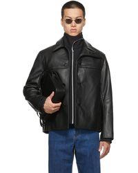 Commission Ssense Exclusive Calfskin Curved Flap Jacket - Black