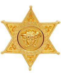 Versace ゴールド Sheriff メドゥーサ バッジ ブローチ - メタリック